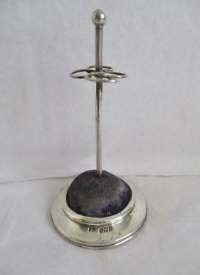 ORIGINAL ANTIQUE SILVER HAT PIN STAND with BLUE VELVET CUSHION BIRMINGHAM 1905
