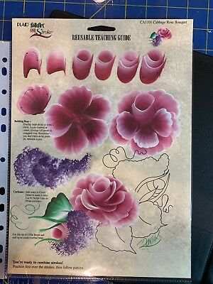 Plaid Folk Art One Stroke CABBAGE ROSE Flowers & Leaves Reusable Painting Guide:
