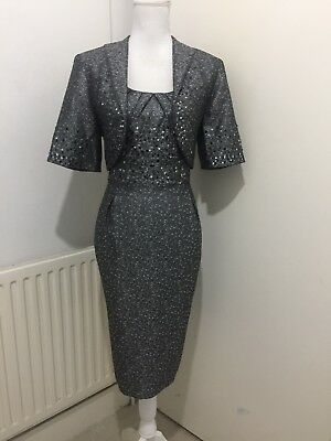 Beautiful R&m Richards Mother Of The Bride/evening Dress And Bolero Size12/14/16