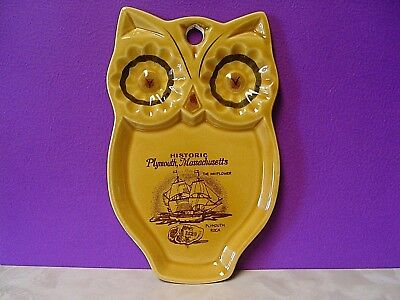 Vintage Souvenir Ceramic Owl Hanging Spoon Rest Tray Plymouth Massachusetts Ma