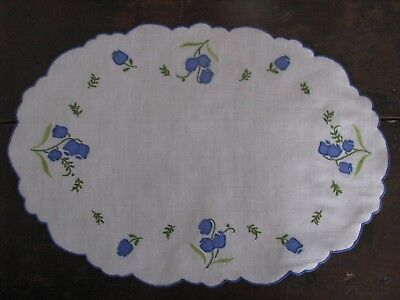 Vtg Madeira Oval Linen Placemats  Set 10 Blue Floral Sprig Hand Embroidery Clean