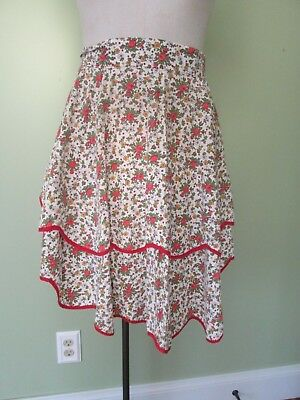 Ladies  Vintage   Red Rose And Red Trim Floral Half Apron