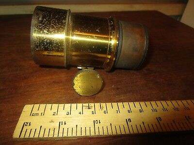 Antique Brass Petzval type rack + pinion Magic Lantern lens . See others  (3)