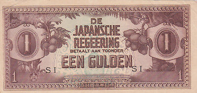 1 Gulden Vf Banknote From Japanese Occupied Netherland Indies 1942!pick-123!