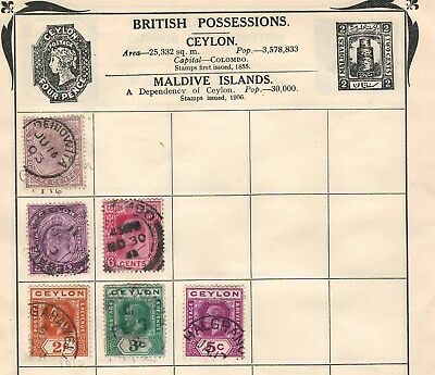 CEYLON Amazing Very Old Used Stamps Collection Hinged/Glued on list
