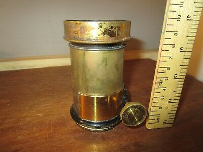 Antique Brass Petzval type rack and pinion Magic Lantern lens . See others  (4)