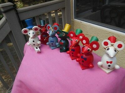 Lot of 7  Vintage  Wooden Mice w/ Glasses Christmas Tree Ornament Figurines