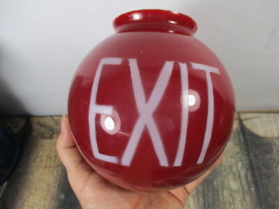 Vintage Red Glass Globe Exit Sign No Reserve