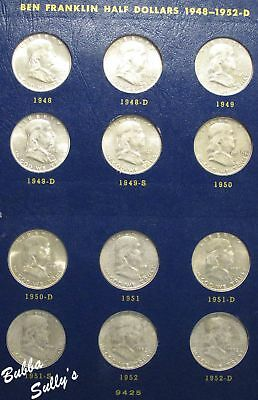Complete Set of Circulated Franklin Half Dollars 1948-1963 in Whitman Album
