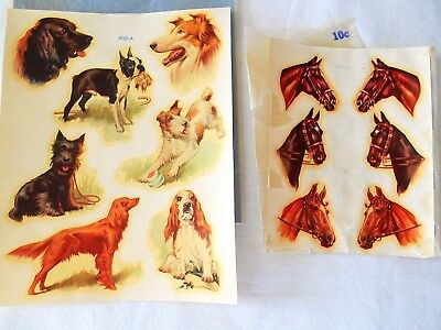 Vintage HORSES & DOGS WATER SLIDE DECAL SHEETS - MEYERCORD in Envelopes