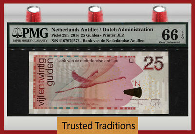 "TT PK 29h 2014 NETHERLANDS ANTILLES 25 GULDEN ""BIRD"" PMG 66 EPQ GEM UNCIRCULATED"