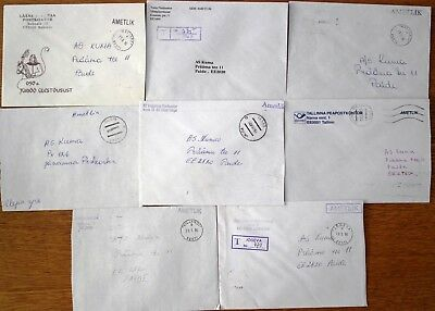 """Estonia: 8 Different Post Offices """"official"""" Letters 1996"""