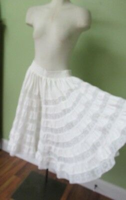 White Cotton Very Full Petticoat / Lace Insets  / Elastic Waist