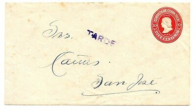 """COSTA RICA 1932STATIONERY ENVELOPE TOO LATE """"TARDE"""" ARRIVAL MARK ON REVERSE! x88"""