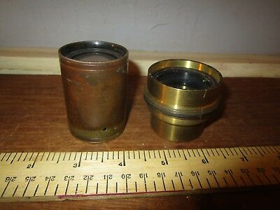 Antique Brass Magic Lantern lenses x 2   - 4 in. + other . See other lenses( 8)