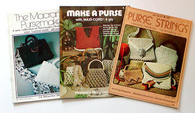 *3* Vintage PURSE MACRAME PATTERN BOOKS 28 Designs MaxiCord 1970's Knotting Bags