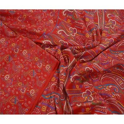 Tcw  Vintage Red Cultural Saree 100% Pure Silk Printed Sari Craft Fabric