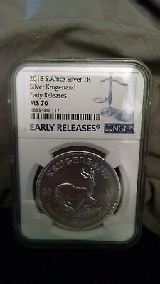 2018 1Rand Silver South Africa Krugerrand NGC MS70 Early Releases Blue Label