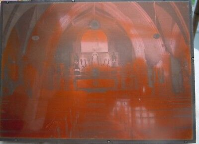 Lovely Vintage Wood And Copper Religious ' Nuns Attending Mass' Printing Plate .