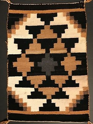 Neat Old Genuine NAVAJO SUNSHINE & SHADOW DESIGN BLANKET / RUG,Excellent,ca.1940