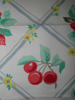 """Vintage Printed Runner Toweling - Cherry And Floral Motif - 37"""" x 13"""""""