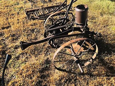 Vintage one row antique horse drawn planter seeder farm implement equipment
