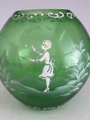 Vintage Forest Green Mary Gregory Art Glass Round BALL Vase GIRL PAINTING 6.75""