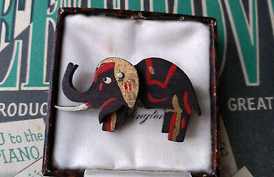 RARE ANTIQUE ART DECO 1920s BAKELITE ELEPHANT BROOCH PIN SIGNED CZECH TESTED