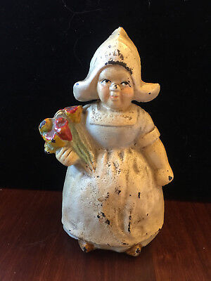 Cast Iron Hubley Dutch Girl with Flowers Coin bank