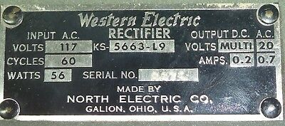 Vintage Western Electric Rectifier KS-5663-L9   75V-120V-130V  DC Power