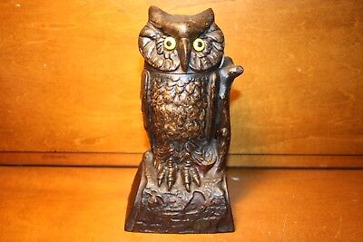 Antique Cast Iron Owl Turns Head Mechanical Bank by J & E Stevens Cir. 1881