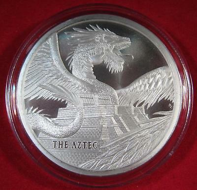 The Aztec 1 oz Silver Round KEY DATE #1 of World of Dragons New Series (Sealed)
