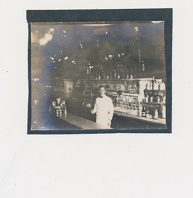1900 Vintage Photograph Beer Bar Lots Bottle Display Bartender Brewing Young Man