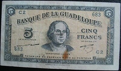 Guadeloupe 1942 5 Francs Note