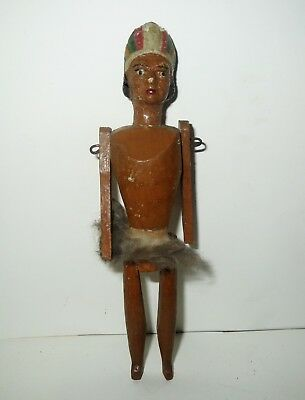 Rare Antique 1800s WOOD PEG DOLL - Native AMERICAN INDIAN