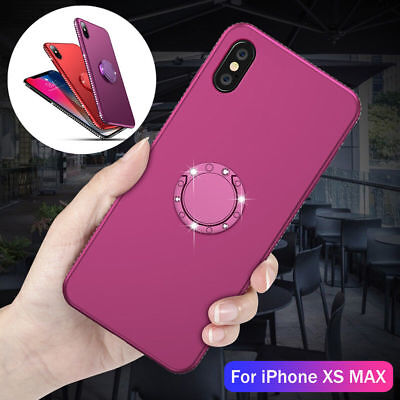 For iPhone XS Max XR Crystal Diamond Bling Glitter Soft Case Cover + Ring Stand