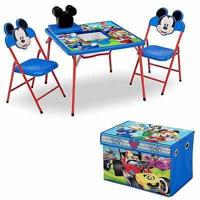 Mickey Mouse Plastic Kids Storage Table and Chairs Set Disney Furniture Play NEW