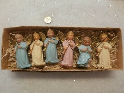 Box Of 6 Vintage Antique German Composition Angel Christmas Tree Ornament