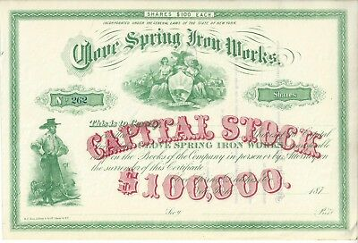ca. 1870s State of New York Clove Spring Iron Works Stock Certificate