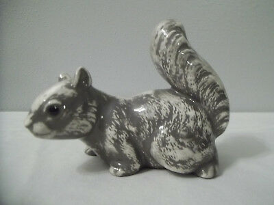 "Small Ceramic Hand Painted Squirrel Gray 7 White - 4 1/2"" T  Signed"