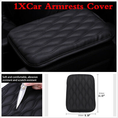 1X Synthetic Leather Car Armrest Center Console Cover Cushion Armrests Pad Black