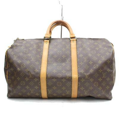Authentic Louis Vuitton Boston Bag Keepall 50 M41426 Browns Monogram 327125