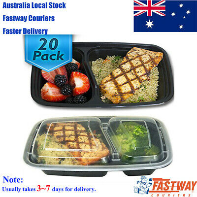 20 Pack 2 Compartment Food Containers Durable Plastic Reusable Container 1000ml