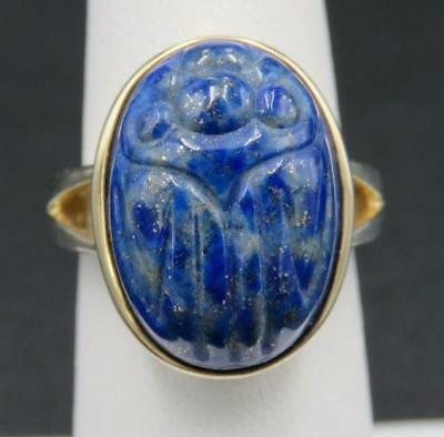 Gold Plated Sterling Silver Carved Lapis Lazuli Egyptian Scarab Beetle Ring Sz 6