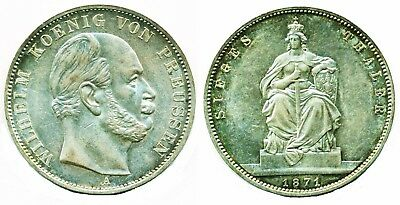 Germany: Prussia, Silver Thaler, Victory Over France, 1871A , Au-Unc!