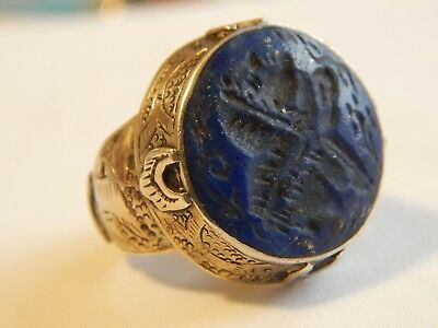 Vintage Blue Lapis Lazuli Carved Stone Etched Bird Fish Silver Plate Ring Size 8