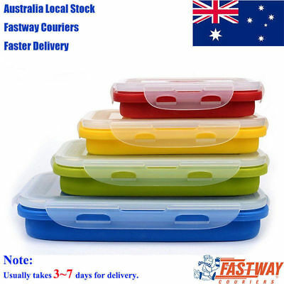 4 PC Collapsible Containers Square Silicone Food Storage Dishwasher Freezer Safe