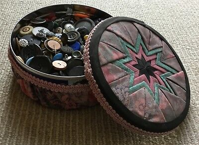 Large Lot Vintage Antique Buttons in Handmade Quilted Tin
