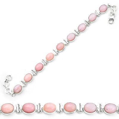 Natural Pink Opal 925 Sterling Silver Tennis Bracelet Jewelry M53738