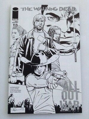 The Walking  Dead #115•midnight Release•sketch Variant•all Out War